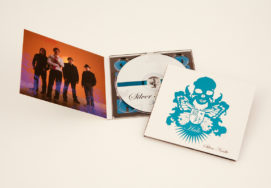 4 panel CD-size digipak with matte coating, blue foil stamping